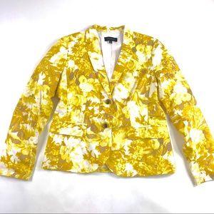 Talbots Cotton Yellow Floral Blazer Sz 12